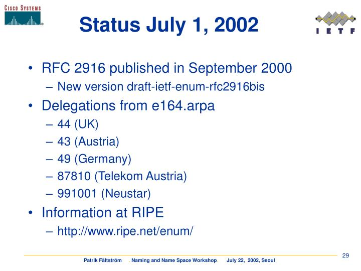 Status July 1, 2002