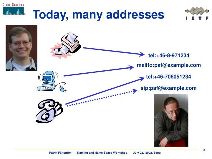 Today many addresses