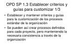opd sp 1 3 establecer criterios y gu as para customizar 1 3