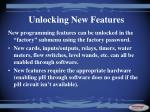 unlocking new features