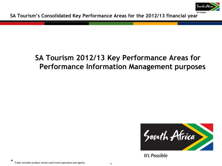 SA Tourism's Consolidated Key Performance Areas for the 2012/13 financial year