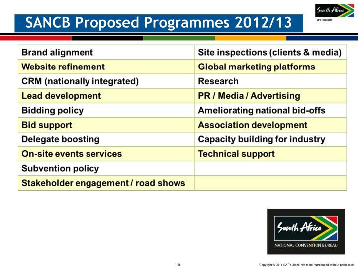 SANCB Proposed Programmes 2012/13
