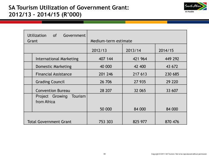 SA Tourism Utilization of Government Grant: