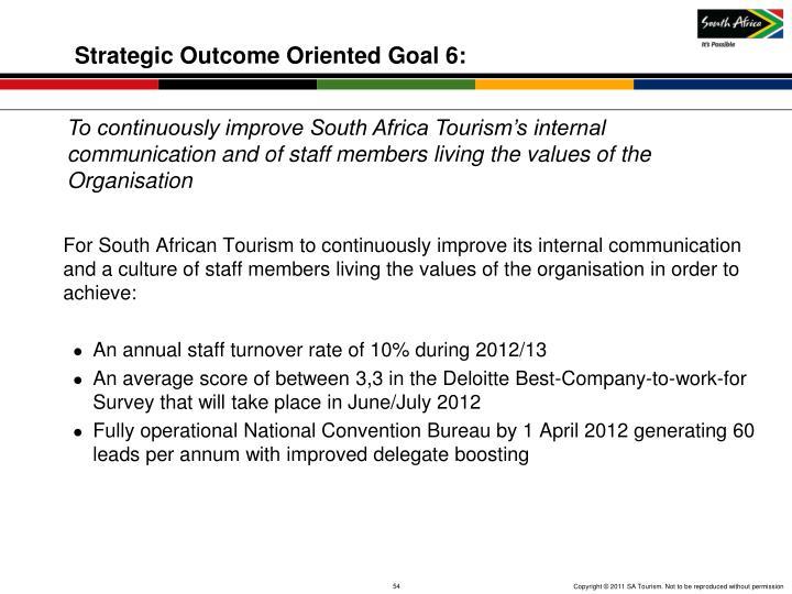 Strategic Outcome Oriented Goal 6: