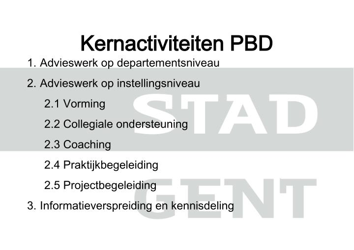 Kernactiviteiten PBD