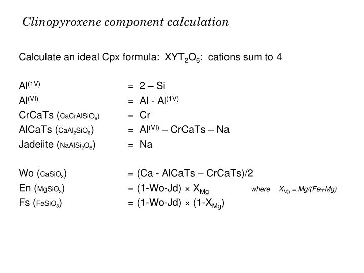 Clinopyroxene component calculation