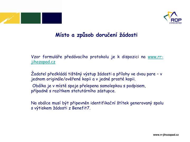 Vzor formuláře předávacího protokolu je k dispozici na