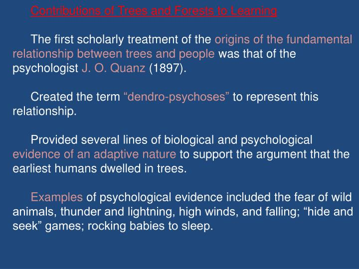 Contributions of Trees and Forests to Learning