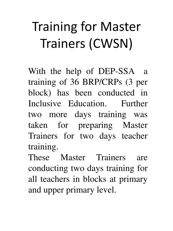 Training for Master Trainers (CWSN)