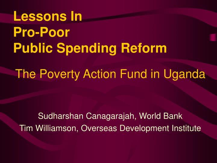 lessons in pro poor public spending reform n.