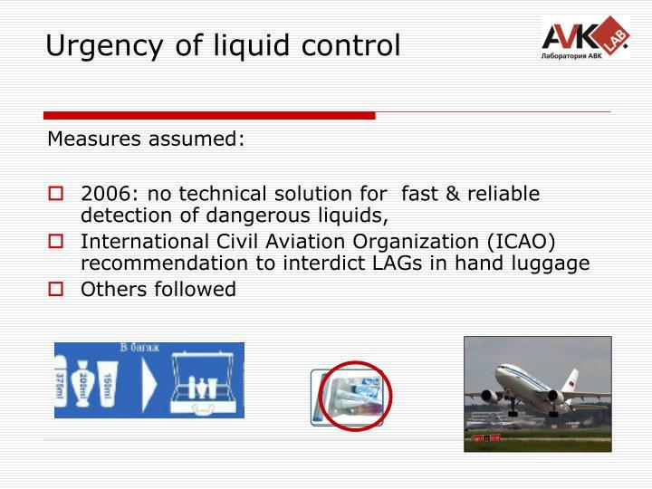 Urgency of liquid control