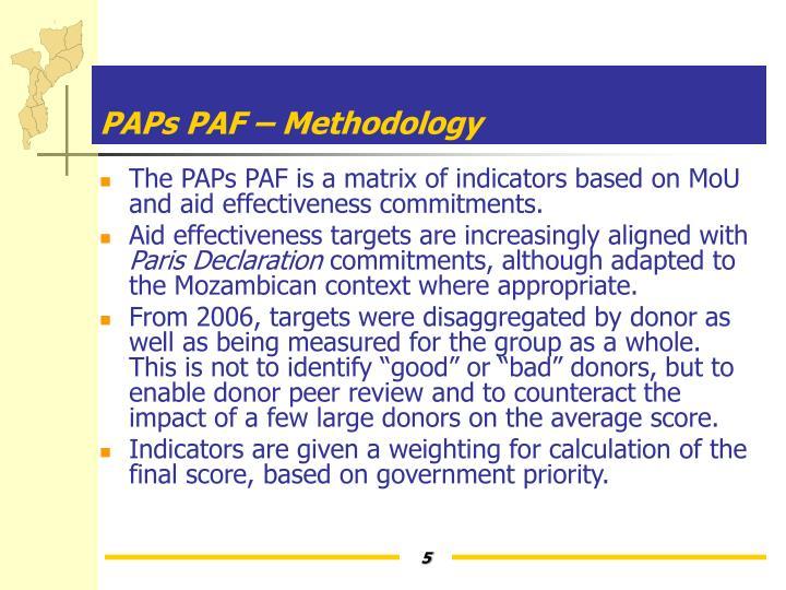 PAPs PAF – Methodology
