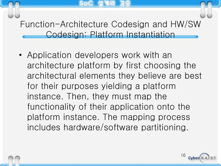 Function-Architecture Codesign and HW/SW Codesign: Platform Instantiation