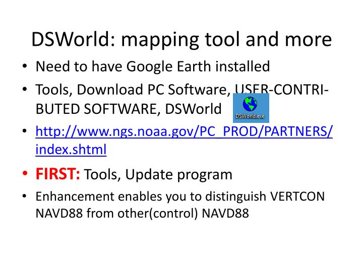 DSWorld: mapping tool and more