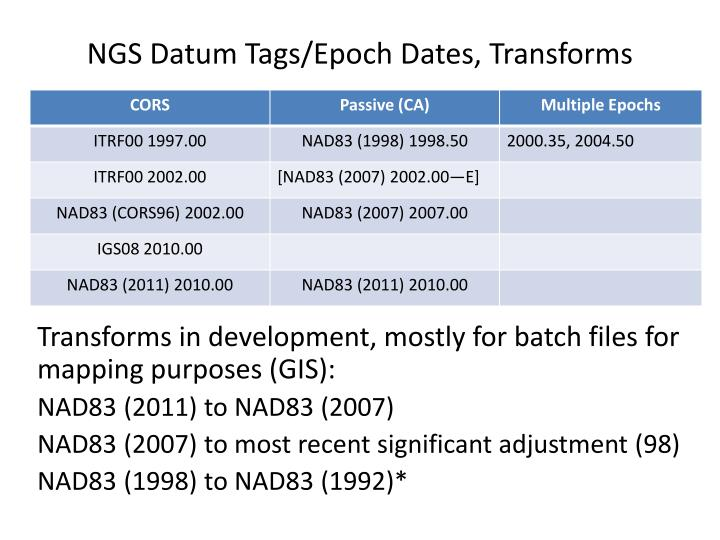NGS Datum Tags/Epoch Dates, Transforms