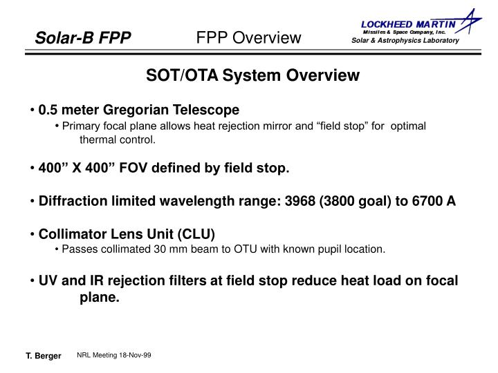 SOT/OTA System Overview