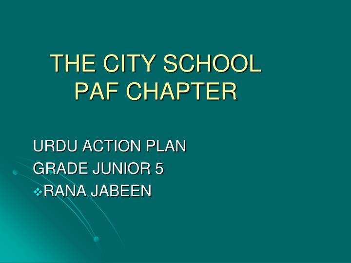 the city school paf chapter n.