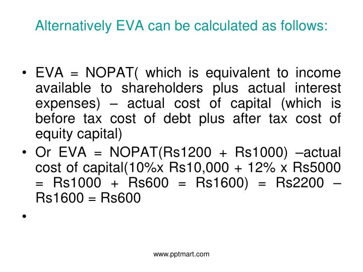 Alternatively EVA can be calculated as follows: