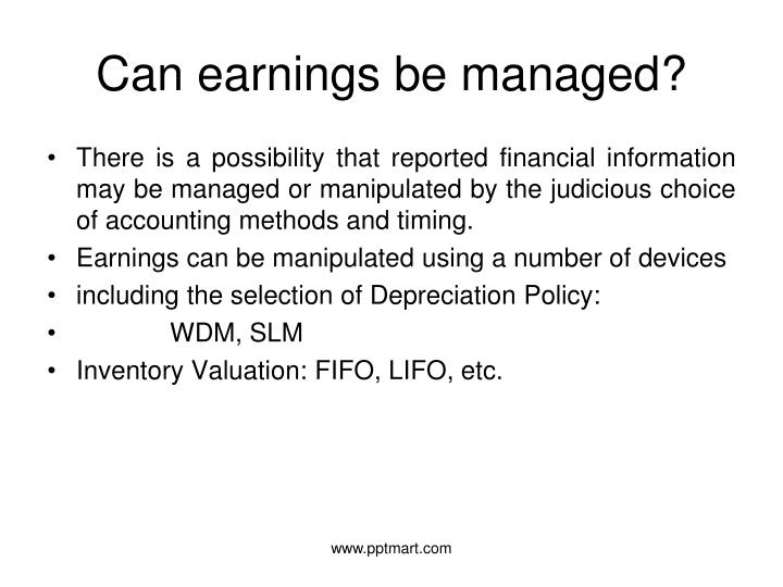 Can earnings be managed?