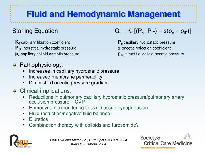 Fluid and Hemodynamic Management