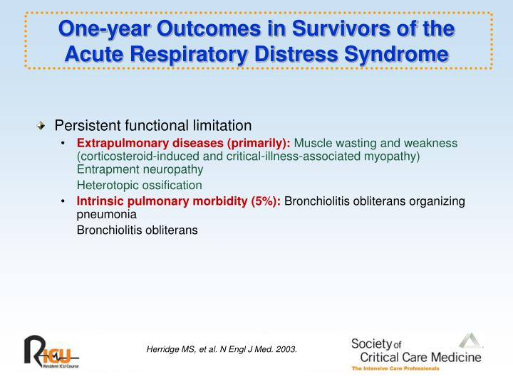 One-year Outcomes in Survivors of the Acute Respiratory Distress Syndrome