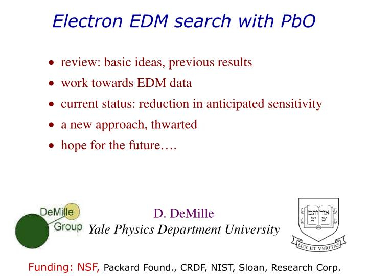 Electron edm search with pbo