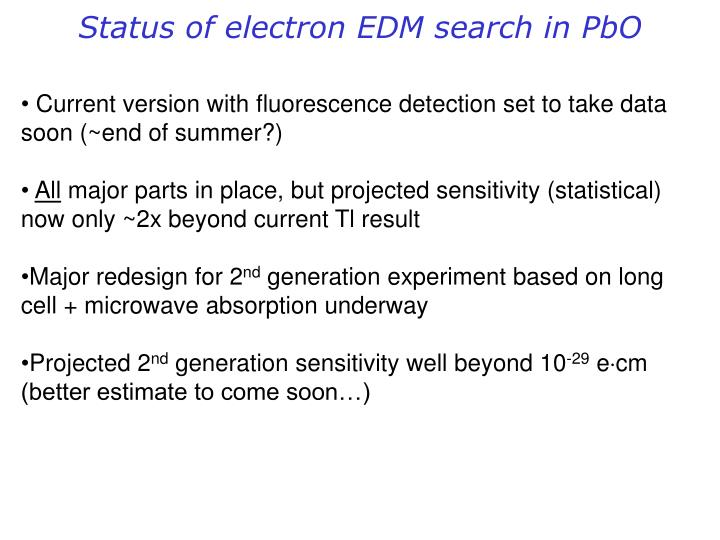 Status of electron EDM search in PbO