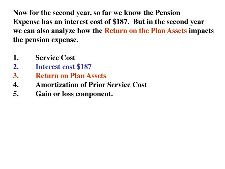 Now for the second year, so far we know the Pension