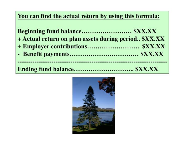 You can find the actual return by using this formula: