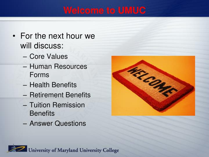 Welcome to UMUC