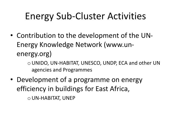 Energy Sub-Cluster Activities