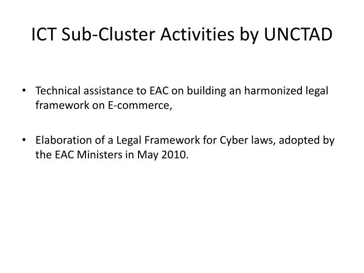 ICT Sub-Cluster Activities by UNCTAD