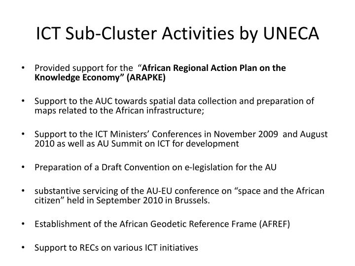 ICT Sub-Cluster Activities by UNECA