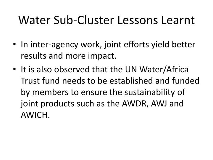 Water Sub-Cluster Lessons Learnt