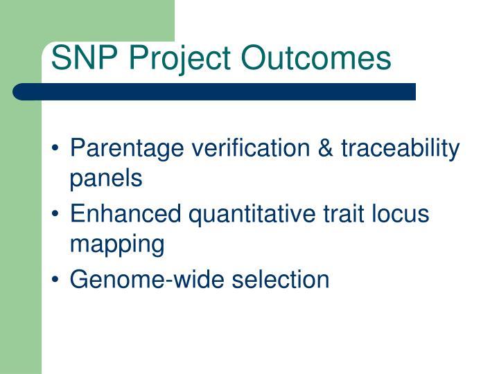 SNP Project Outcomes