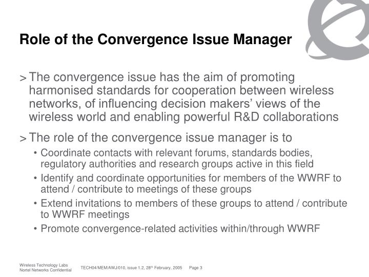 Role of the Convergence Issue Manager