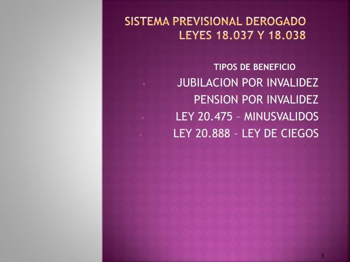 Sistema previsional derogado leyes 18 037 y 18 038