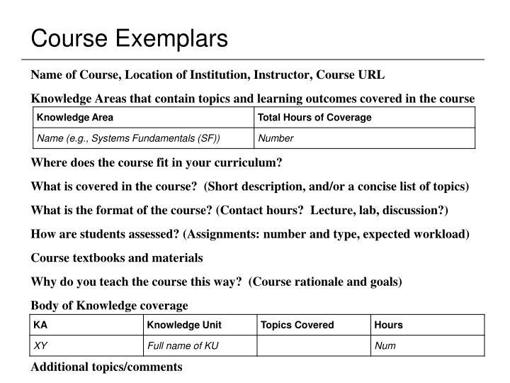 Course Exemplars
