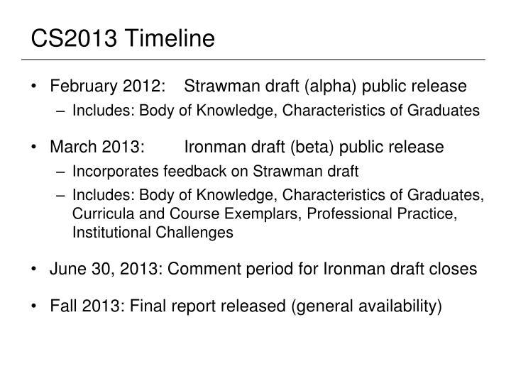 Cs2013 timeline