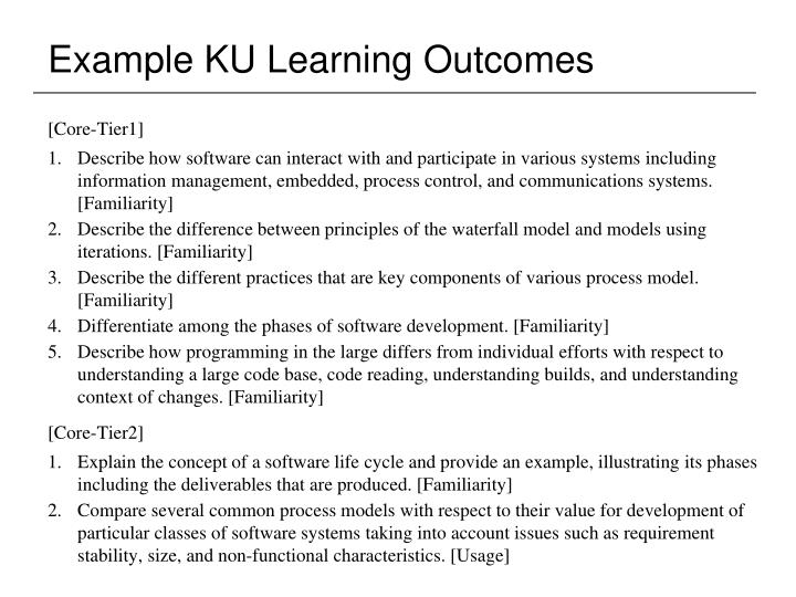 Example KU Learning Outcomes