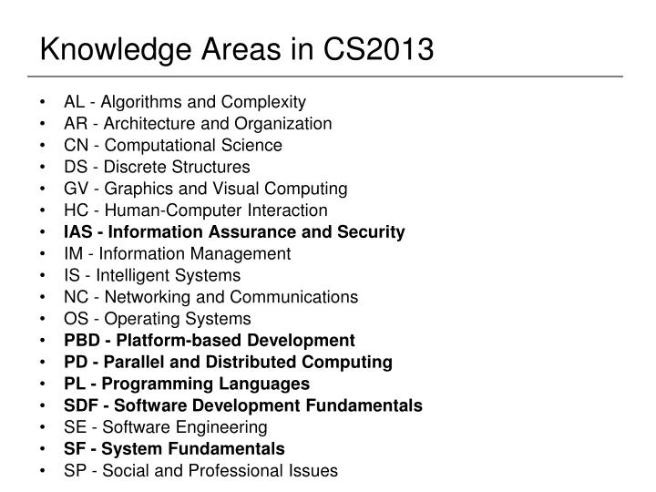 Knowledge Areas in CS2013