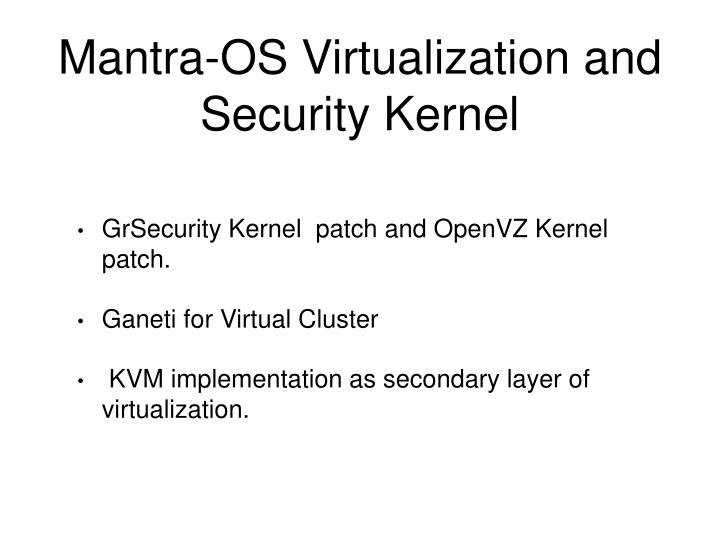 Mantra-OS Virtualization and Security Kernel