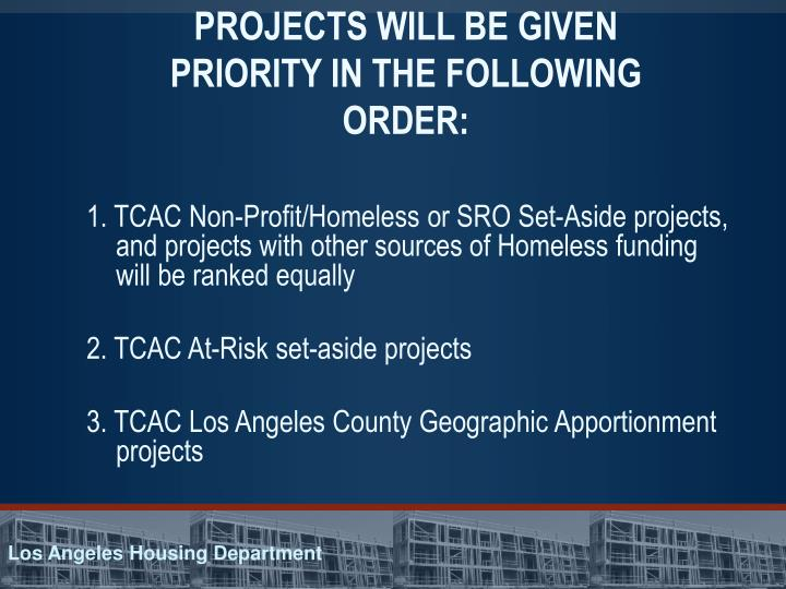 PROJECTS WILL BE GIVEN PRIORITY IN THE FOLLOWING ORDER: