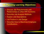 hr planning learning objectives