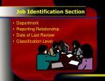 job identification section