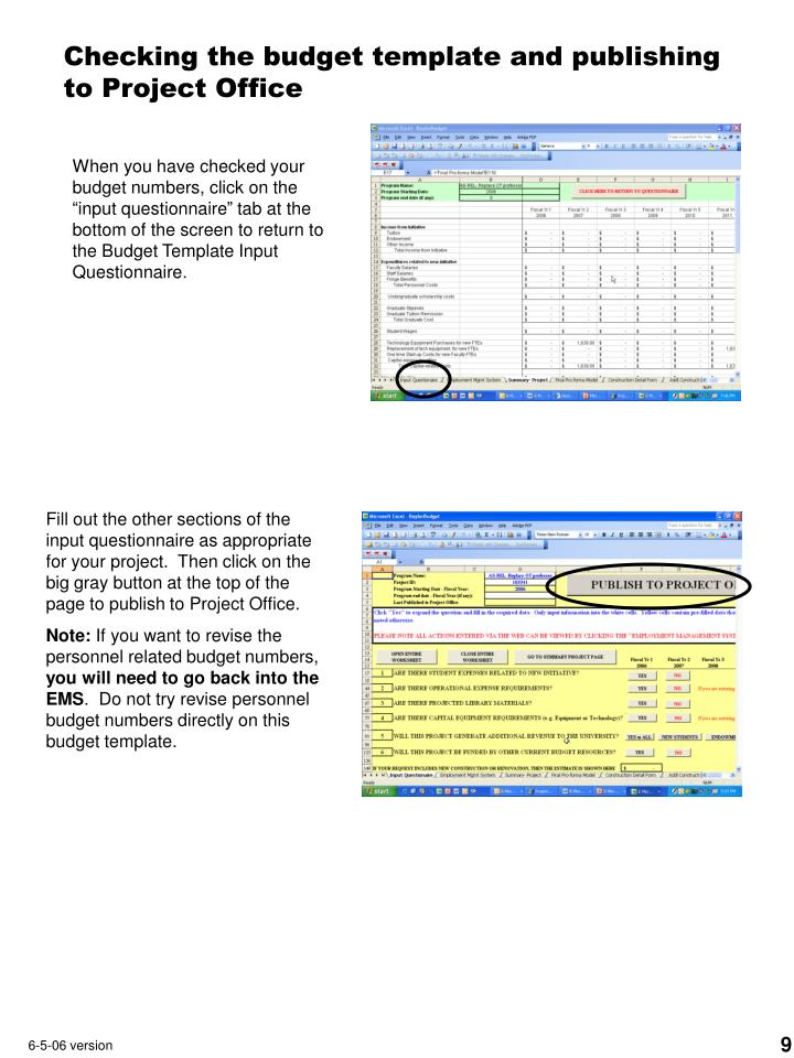 Checking the budget template and publishing  to Project Office