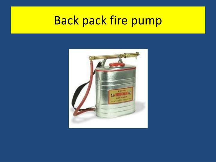 Back pack fire pump
