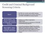 credit and criminal background screening criteria