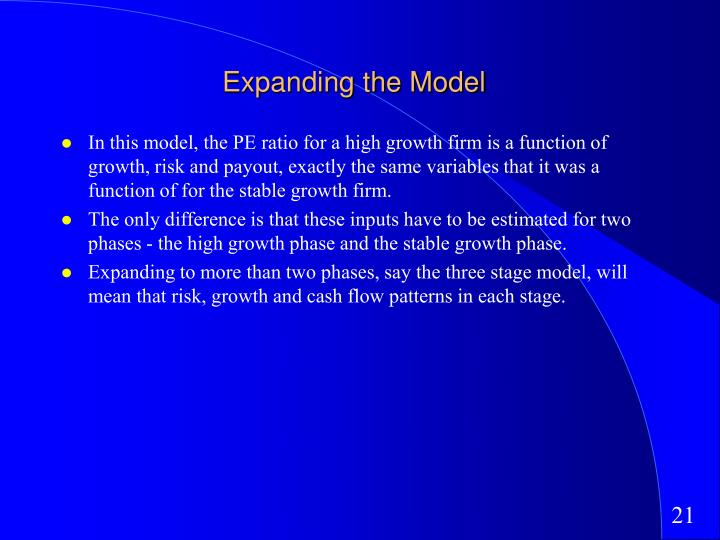 Expanding the Model