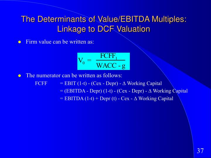 The Determinants of Value/EBITDA Multiples: Linkage to DCF Valuation